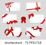 set of white cards with red... | Shutterstock .eps vector #717951718