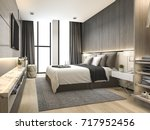 Stock photo  d rendering luxury modern bedroom suite in hotel with wardrobe and walk in closet 717952456