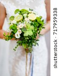 green wedding bouquet with lime ... | Shutterstock . vector #717959338