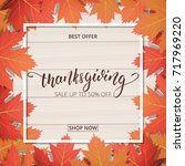 thanksgiving day sale banner.... | Shutterstock .eps vector #717969220
