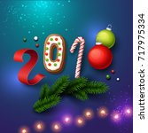 happy new year 2018 background. ... | Shutterstock .eps vector #717975334