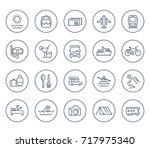 travel  tourism line icons on... | Shutterstock .eps vector #717975340