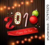 happy new year 2018 background. ... | Shutterstock .eps vector #717975370