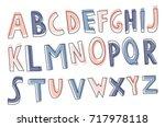hand drawn decorative alphabet. ... | Shutterstock .eps vector #717978118