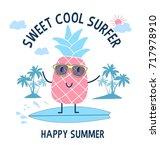 sweet cool surfer pineapple... | Shutterstock .eps vector #717978910