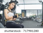fitness woman in training put... | Shutterstock . vector #717981280