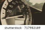 close up shot of a speed meter... | Shutterstock . vector #717982189