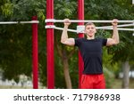 full length of strong athlete... | Shutterstock . vector #717986938
