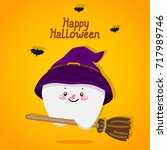 halloween card with tooth ... | Shutterstock .eps vector #717989746