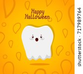 halloween card with tooth ... | Shutterstock .eps vector #717989764