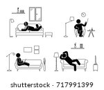 stick figure resting at home... | Shutterstock .eps vector #717991399