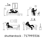 stick figure resting at home... | Shutterstock .eps vector #717995536