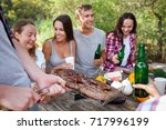 romantic picnic. group adult... | Shutterstock . vector #717996199