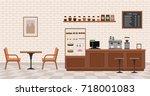 empty cafe interior. flat... | Shutterstock .eps vector #718001083