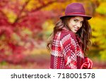 Autumn Woman In Autumn Park...