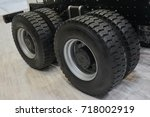 view on new truck wheels and... | Shutterstock . vector #718002919