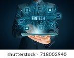 fintech  financial technology ... | Shutterstock . vector #718002940