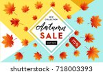 autumn sale flyer template with ... | Shutterstock .eps vector #718003393