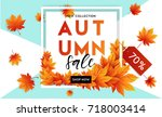 autumn sale flyer template with ... | Shutterstock .eps vector #718003414