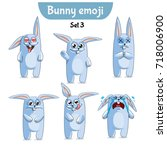 vector set of cute rabbit... | Shutterstock .eps vector #718006900