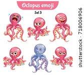 vector set of cute octopus... | Shutterstock .eps vector #718006906