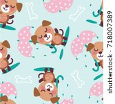 vector seamless pattern with... | Shutterstock .eps vector #718007389