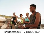 group of happy fitness people... | Shutterstock . vector #718008460