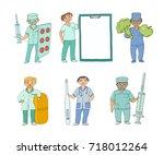 vector flat cartoon adult male  ... | Shutterstock .eps vector #718012264