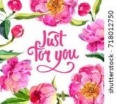 wildflower peonies flower frame ... | Shutterstock . vector #718012750
