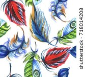 watercolor bird feather pattern ... | Shutterstock . vector #718014208