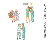 vector flat doctor calming...   Shutterstock .eps vector #718014769