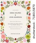 wedding invitation. summer... | Shutterstock .eps vector #718015870