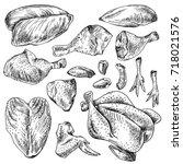 chicken cuts  hen parts.... | Shutterstock .eps vector #718021576