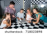 young family is visiting of... | Shutterstock . vector #718023898