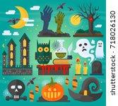 vector illustration of zombie... | Shutterstock .eps vector #718026130