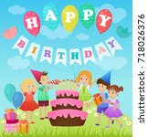 birthday party for kids.... | Shutterstock .eps vector #718026376
