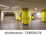 interior of yellow subway in... | Shutterstock . vector #718028176