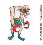 cartoon boxer with black eye | Shutterstock .eps vector #718028509