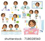 set of various poses of... | Shutterstock .eps vector #718028560