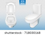realistic toilet mockup closeup ... | Shutterstock .eps vector #718030168