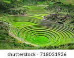 Stock photo agricultural terraces in the sacred valley moray in cuzco sacred valley peru 718031926