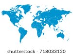 blue world map. | Shutterstock .eps vector #718033120