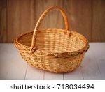 braided bamboo basket. basket... | Shutterstock . vector #718034494