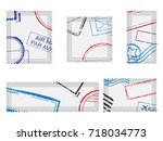 set of post stamps postage...   Shutterstock .eps vector #718034773