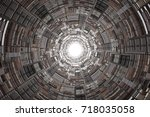 abstract science fiction... | Shutterstock . vector #718035058