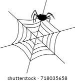 black silhouette of  spider... | Shutterstock .eps vector #718035658