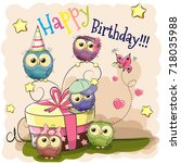 greeting birthday card cute... | Shutterstock .eps vector #718035988