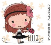 cute cartoon girl with a bow... | Shutterstock .eps vector #718036210