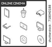 online cinema outline isometric ... | Shutterstock .eps vector #718040188