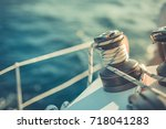 Winch on a sailboat while sailing. Luxury yacht tackle during the ocean voyage.